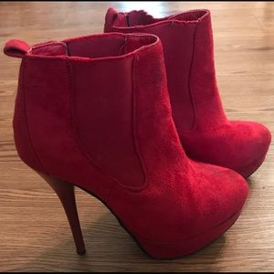 Red Velvet High Heel Booties